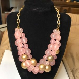 H&M Pink & Gold Beaded Layered Necklace